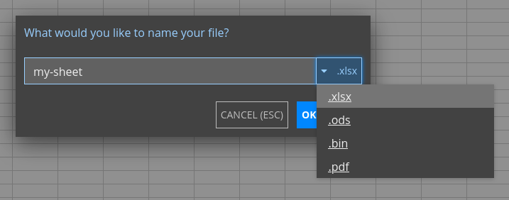 Dialog showing exporting a file to various formats